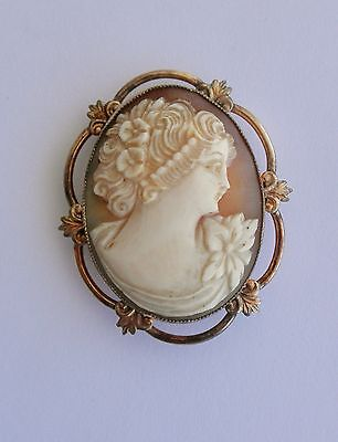 Victorian Shell Carved CAMEO Brooch/Pendant in Gold-Filled Frame