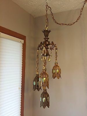 3-Way Antique Victorian Brass Carnival Glass Chandelier Ceiling Fixture