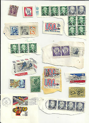 United States of America USA 33 used stamps most are on paper (1438)