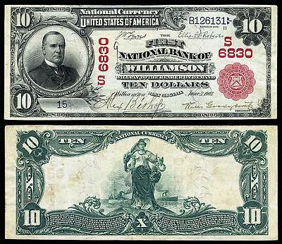 Crisp Unc. 1902 U.s $10.00 National Banknote Copy Pls Read Description!