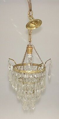 Vintage 3 Tier Crystal Glass Chandelier
