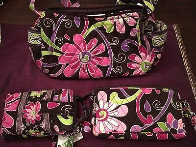 WOMENS LOT OF 3 Pieces VERA BRADLEY RETIRED PURPLE PUNCH PURSE WRISTLET WALLET