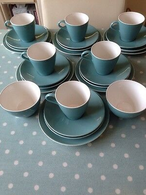Poole Pottery Two Tone Turquoise / Jade Green 26 Piece Set.