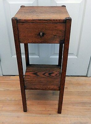 "Vintage Arts & Crafts / Mission Oak 12x12x29.5"" Table with Drawer"