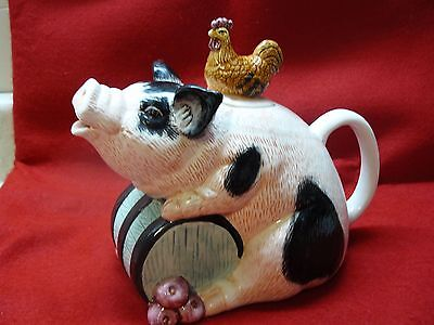 Pig with Chicken and Barrel Teapot  #207