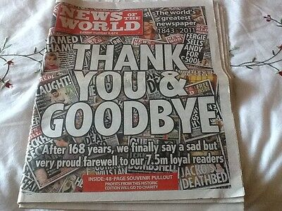 The last News of the World Newspaper vg