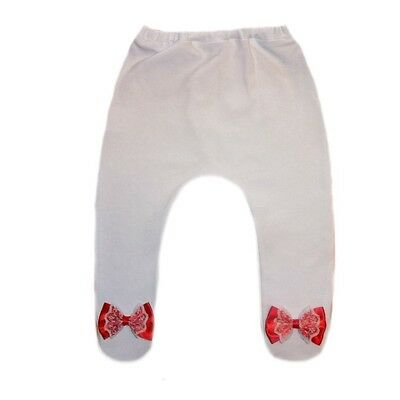 097f79a41d3a5 Baby Girls White Tights with Red Lace Bows - 6 Preemie, Newborn Infant  Sizes.