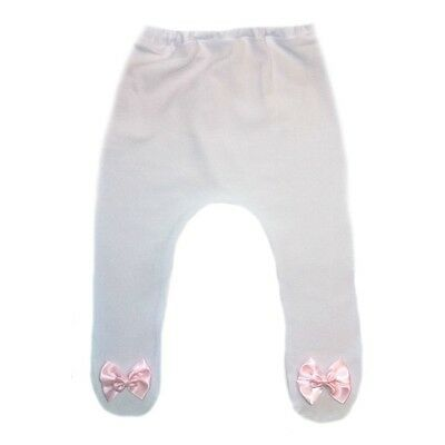 5777f92dce1de Baby Girls White Tights with Pink Double Bow - 6 Preemie, Newborn Infant  Sizes