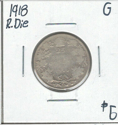 Canada 1918 Silver 25 Cents Rotated Die G