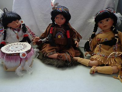 DUCK HOUSE HEIRLOOM Native American Collectible Dolls Lot of 3