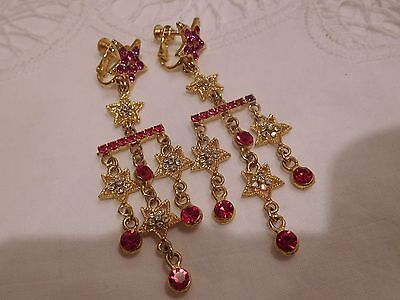 Dazzling Vintage 1980s Red & PINK Crystal STAR Clip On Earrings