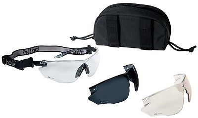 Bolle 40168 Combat Tactical Safety Glasses Kit Anti-Fog Clear, ESP, Smoke Lenses