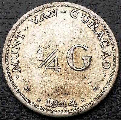 1944 Netherlands Curacao 1/4 Gulden 64% Silver Coin KM# 44 - Free Combined S/H