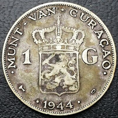 1944D Netherlands Curacao 1 Gulden 0.720 Silver Coin KM# 45 - Free Combined S/H