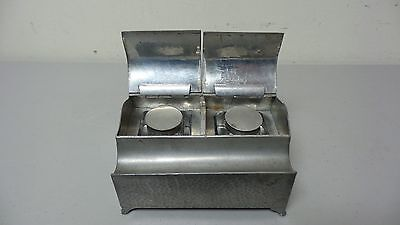 """Arts & Crafts Period Hammered Pewter Double Inkwell / Inkstand, """"Period Pewter"""""""