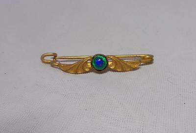 Beautiful Art Nouveau Gold Tone & Blue/green Glass Brooch~Continental/french