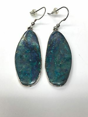 Vintage Navajo Sterling Silver Turquoise Drop Dangle Earrings Signed NG