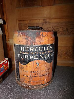 Vintage Hercules Turpentine 5 Gallon Round Can Hercules Powder Co. Delaware