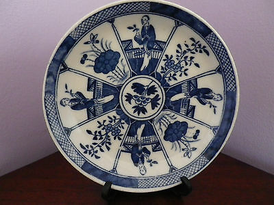 Antique Chinese Pottery Blue & White Flowers & People Design Plate 12.5 Cms Dia