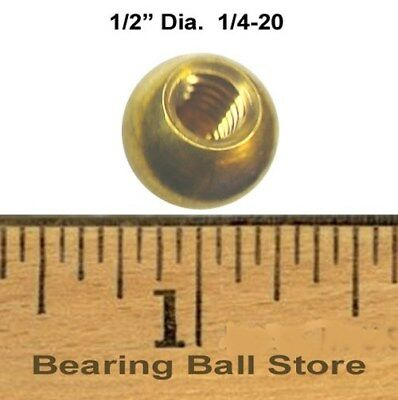 """Five 1/2"""" dia. threaded 1/4-20 brass balls drilled tapped"""