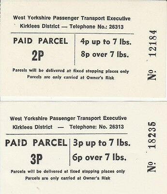 Paper tickets. West Yorkshire P.T.E., Kirklees District. Paid Parcel. 2 tickets.
