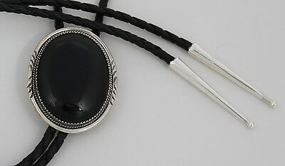 Navajo Indian Bolo Tie Black Onyx Larger Sterling Silver Betty Begay