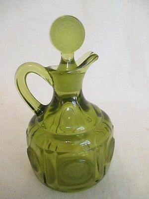 B9 Fostoria Glass Olive Green Coin Glass Cruet with Stopper