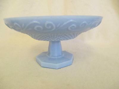 B3 Portieux Vallerysthal France Blue Opaline Milk Glass Compote Swirl Diamond