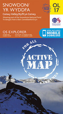 OL17 Snowdon and Conwy Laminated Active Explorer Map OL 17