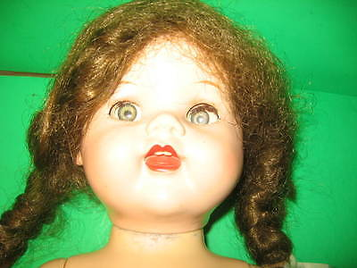 """LOVELY 1950's IDEAL 22"""" HARD PLASTIC SAUCY WALKER DOLL WITH ORIGINAL BROWN WIG"""