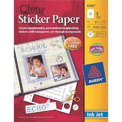 Avery Sticker Paper, 8.5 x 11 Inches, Clear, Pack of 3 (53203) New