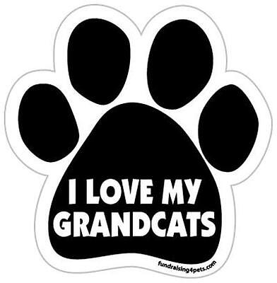 "I Love My Grandcats Cat Car Fridge Plastic Magnet Large 5.5""  Gift Kitten Kitty"