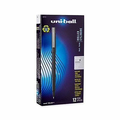 Uni-Ball Roller Stick Pens, Micro Point, Black Ink, 12-Count New
