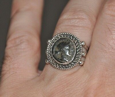 Cleopatra Egypt Queen Authentic Coin Solid Sterling Silver Handmade Ring Sz 11