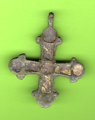 Russia Kiev type Bronze Enamel Cross Pendant Viking time 10-12th ca 1100 AD 264