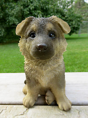 German Shepherd Puppy Dog Sitting Figurine  Resin Pet Canine  Ornament New 7""