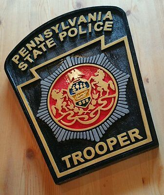 Police Pennsylvania State Trooper 3D routed  Patch Plaque Sign Custom