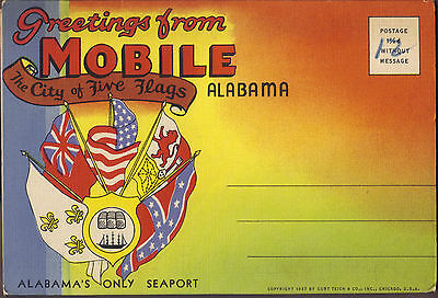 The City of Five Flags Mobile Alabama 1937 fold-out postcard 18 views unused