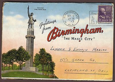 Greetings From Birmingham The Magic City 18 view fold-out postcard 1949 postmark