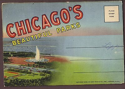 Chicago's Beautiful Parks 16 view 1949 Fold-out Postcard unposted