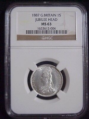 1887 Great Britain Silver Shilling Jubilee Head NGC MS63