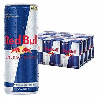 Red Bull Energy Drink, 8.4 Fl Oz Cans (6 Packs of 4, Total 24 Cans) New
