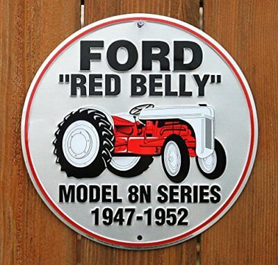 Ford Red Belly Model 8N Red Tractor Retro Vintage Round Sign New