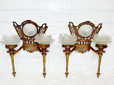 Antique Pair of Art Deco Gold Gild 3 Lamp Torch Frosted Flame Shade Wall Sconces