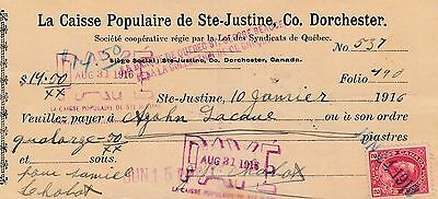 2 ¢ Postal Stamp Caisse Populaire Ste Justine Co. Dorchester Quebec 1916 Cheque