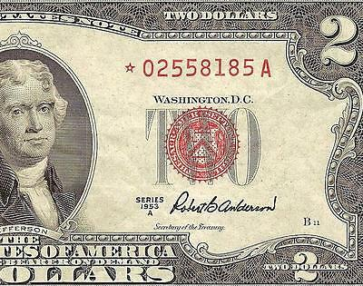 1953 A $2 Star Two Dollar Bill United States Currency Legal Tender Red Seal Note