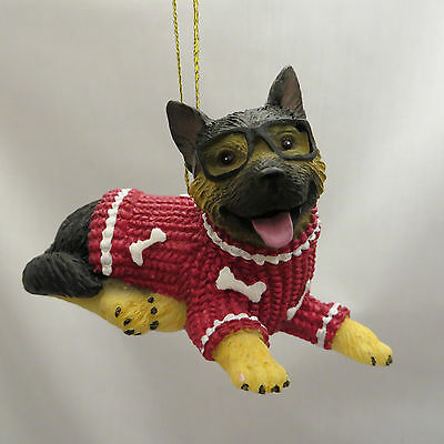 German Shepherd Puppy Dog Glasses Christmas Sweater Ornament New Holiday Gift