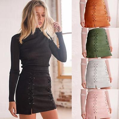 Fashion Women High Waist Lace Up Suede Leather Pocket Preppy Short Mini Skirt