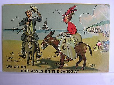 ARTIST COMIC POSTCARD - SITTING ON OUR ASSES AT THE SEASIDE - McGILL - 1910