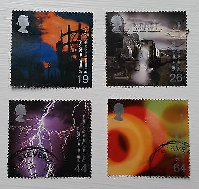 Complete used GB stamp set - 2000 Millennium 'Fire and Light' series